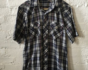 Vintage VIP Western Style Plaid Slim Fit Short Sleeve Shirt