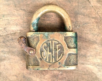 Antique Brass Padlock - Safe Brand - No Key