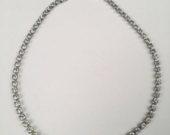 Vintage Necklace - Silver metal with diamond style gem stones, Costume Jewelry