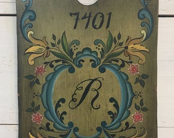Vintage Hand Painted Rosemaling Address Sign - Folk Art