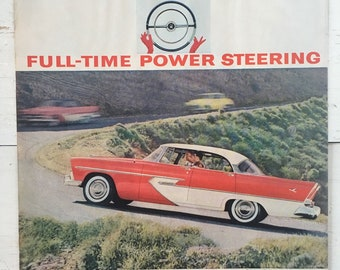 Vintage 1956 Chrysler Ad Art - Plymouth, Dodge, De Soto, Imperial - Power Steering Ad