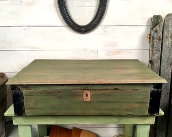 Large Antique Primitive Wooden Tool Box - Green Paint - Storage Box, Coffee Table, Antique Tool Chest