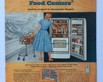 1956 Crosley Refrigerator Freezer Magazine Ad Art - Mid Century Ad, Classic Ad Art