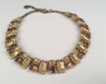 Vintage Necklace - Gold metal with bronze color gemstones, Costume Jewelry