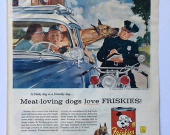 1956 Classic Friskies Dog Food Magazine Ad Art - Plus AC Oil Filter Ad