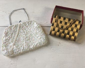 Pair of Vintage Clutch & Evening Purses - White Beaded Purse, Gold Tone Brass Purse with Compact