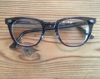 Vintage Titmus Safety Glasses - Smoke Grey - New Old Stock - Horn Rimmed, Cat Eye, Fifties Style