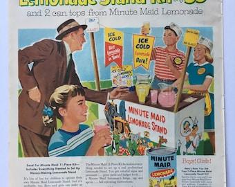 1956 Minute Maid Lemonade Magazine Ad Art - Lemonade Stand Kit Ad, Classic Ad Art