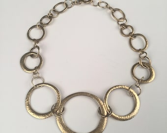 Vintage Necklace - Gold metal with hand hammered loop design, Costume Jewelry