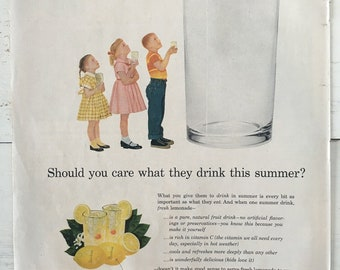 Vintage 1956 Sunkist Lemonade Ad Art - advertising art, vintage magazine ad, 1950s