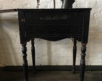 Vintage Electric Singer Sewing Machine in Table & Cabinet - Restoration Project or Rustic Sewing Shop Decor - LOCAL PICK UP