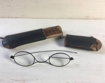 Antique Wire Frame Eyeglasses with Case - Eyewear, Spectacles, Steampunk, Victorian Glasses