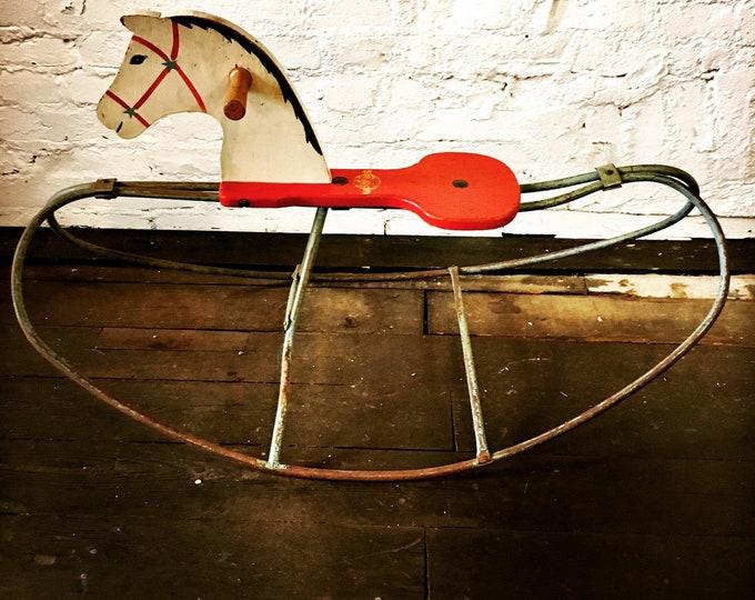 Featured listing image: SALE! Vintage Primitive Industrial Rocking Horse - Primitive Decor, Industrial Decor, Unique