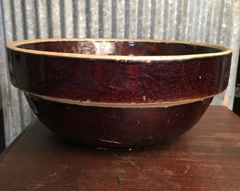 Vintage Brown 11 inch Stoneware Mixing Bowl - Serving Bowl, Farmhouse Decor