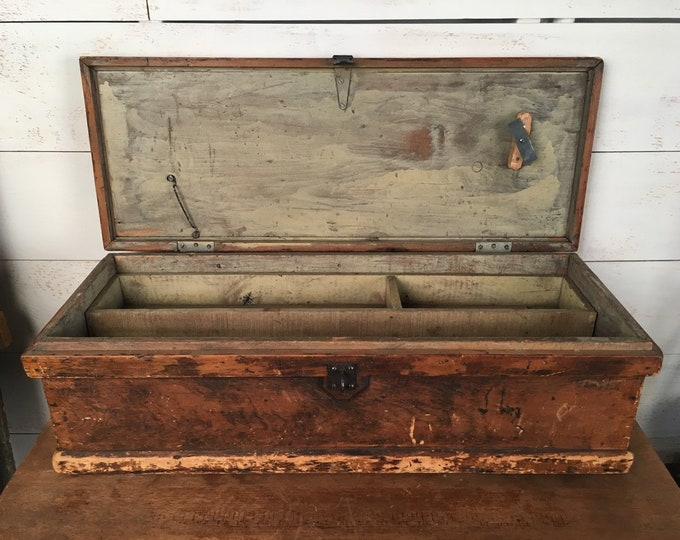 Featured listing image: Primitive Wooden Tool Box - Storage Box, Dining Table Centerpiece, Antique Tool Chest