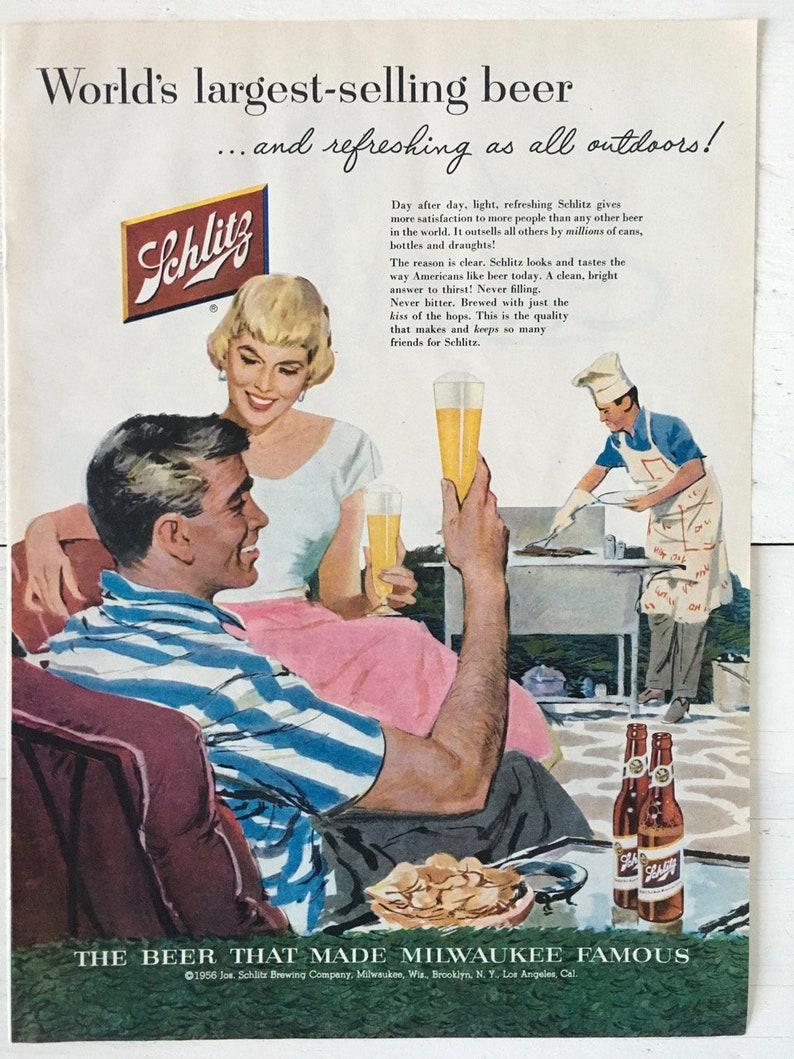 Vintage 1956 Schlitz Beer Ad  Plus ScotTissue Ad  Vintage image 0