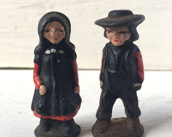 Antique Hand-painted Cast Iron Amish Couple Figurines - Set of Two, Wife and Husband