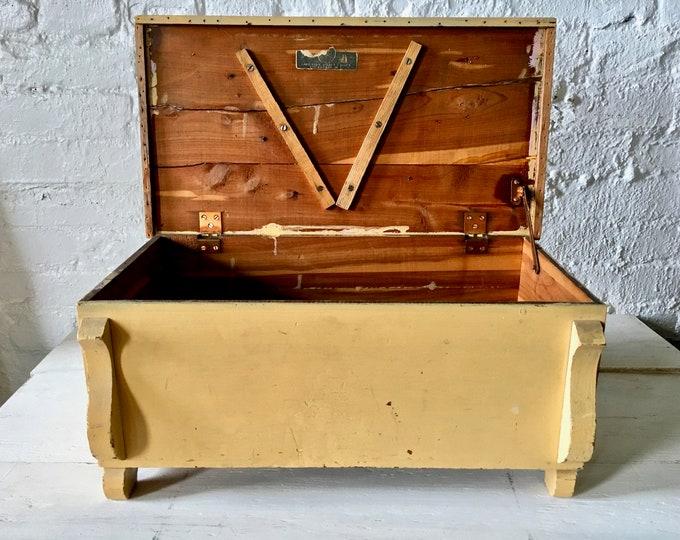 Featured listing image: SALE! Primitive Mustard Yellow Mini Cedar Chest - Small Cedar Box, Primitive Box, Farmhouse Decor, Cedar Storage, Storage Box