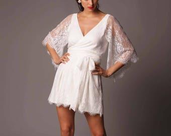 Sardinia Romper: Lace Wrap Style Short Jumpsuit