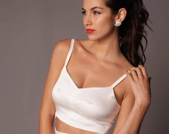 Monterey Top: Sleek Simple Stretch Satin Cropped Bridal Cami