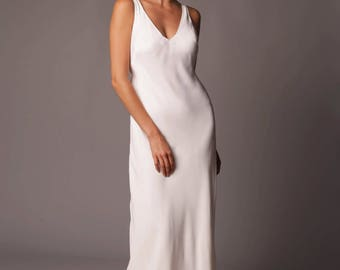 Crete Gown: Bias Crepe Gown in Clean Contemporary Crepe
