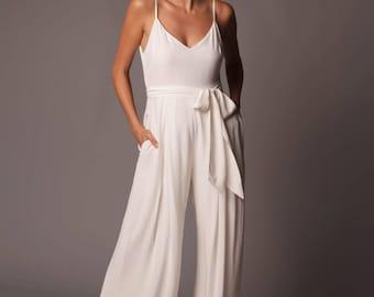 Bali Jumpsuit:  Modern Lightweight Wide Leg Bridal Jumpsuit