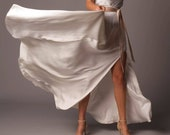 Tuscany Skirt: Long Soft Satin Bridal Skirt With Pockets and Slit