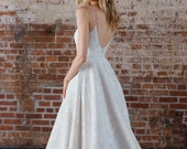 """Showstopping Ballgown with Plunging Deep V Neckline, Deep Scoop Back, Full Skirt with Train, Spanish Jacquard, """"Petra"""" by Rebecca Schoneveld"""
