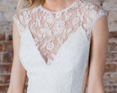 """French Chantilly Lace Topper with Jewel Neckline and Keyhole Back, Cap Sleeves, """"Martine"""" by Rebecca Schoneveld"""