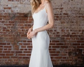 "Modern Scoop Neck Gown, with a Fit-to-Flare Skirt in Spanish Stretch Crepe, Classic, Minimal, ""Louisa"" by Rebecca Schoneveld"