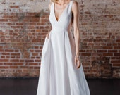 """Sophisticated Minimalist Ballgown with Deep V Bodice, Side Mesh Inserts, & Full Skirt with Soft Pleats, """"Erika"""" by Rebecca Schoneveld"""