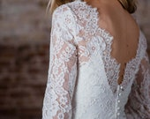 """Chic Scalloped Lace Topper with Long Sleeves and Satin Covered Buttons, """"Simone"""" by Rebecca Schoneveld"""