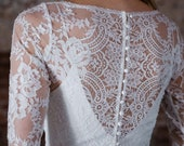 "Elegant Chantilly Lace Topper with Deep V front and Long Sleeves, Illusion Back, ""Mira"" by Rebecca Schoneveld"