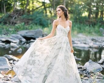 Karina Gown: Mist blue and White Gold Silk Jacquard, Ballerina Bustier, Ballgown