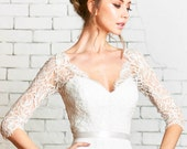 """Floral lace sleeve bridal Top, the """"Ivy"""" CUT TO ORDER"""