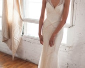 Gemma Gown: Beaded Lace Art Deco 1930s Inspired Sleeveless Bridal Gown with Bias Silk Slip, Low V back