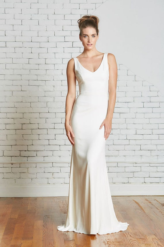 Silk Crepe Bridal Gown The Parker Cut To Order Etsy