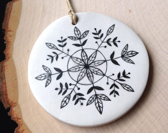 Snowflake Ornament, Leaf ornament, Christmas ornament, gift for her, stocking stuffer, co-worker gift, tree ornament