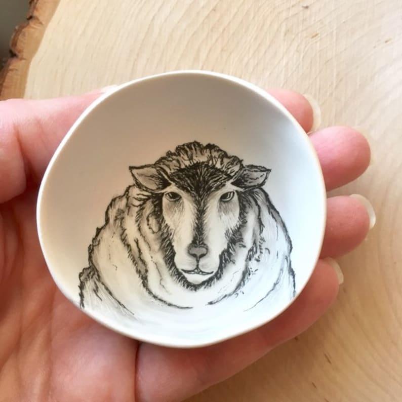 Gift for Her Knitting Gift Sheep ring bowl Sheep Jewelry Dish Knit Lover Sheep Lover gift Sheep Illustration Sheep Farmer Gift