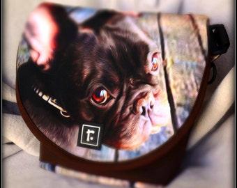 Large Custom Pet Portrait on Rickshaw Large Messenger Bag