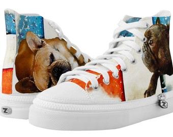 Custom Pet Portrait on High Top Canvas Sport Shoes (Men's Sizing)