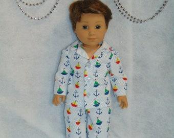 Boys Nautical Themed Flannel Pajamas - 18 inch Boy Doll American Girl Boy  Doll--FREE SHIPPING 62b80ab21