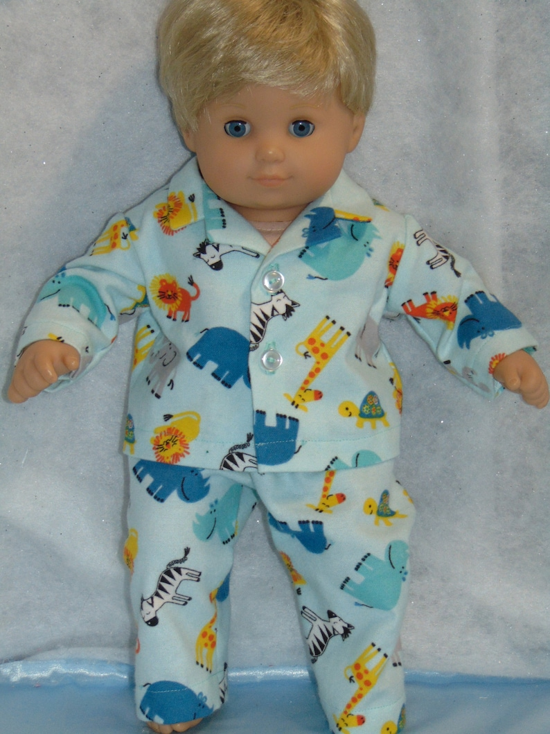 """Doll Clothes Baby Made 2 Fit American Girl Boy 15/"""" in Pajamas Bitty Teal Dogs"""