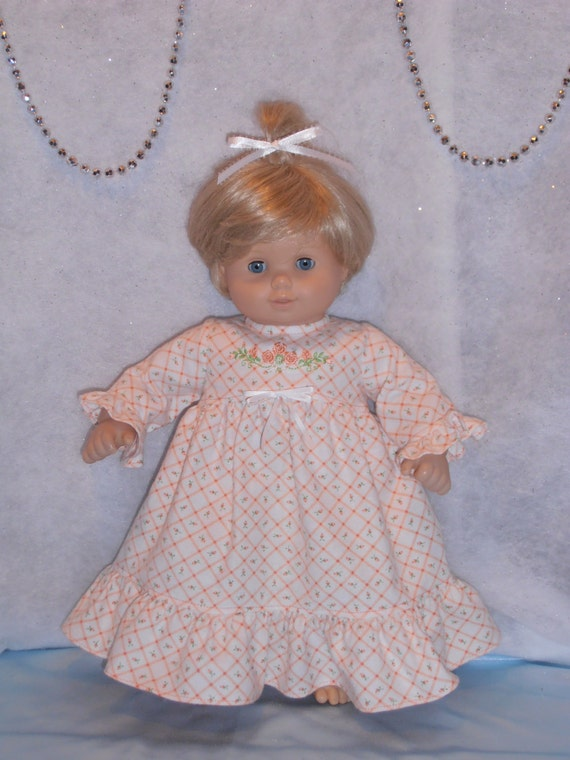 Handmade SHORT Pastel Peach with White Dragonflies Print Dress FOR Dolls