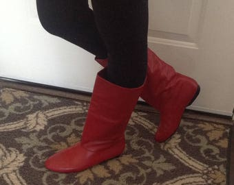 """Vintage """"Cobbies"""" Red Leather Boots"""