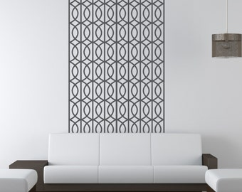 Geometric Wall Decal, Mid Century Wall Decor, Retro Wall Decal, Lattice Wall Pattern, Figure Eight Wall Pattern, Removable Apartment Decor