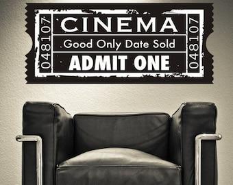 Movie Ticket Wall Decal, Cinema Wall Decal, Theater Wall Decor, Concert Ticket Wall Decal, Ticket Stub Wall Decor, Film Festival Decor