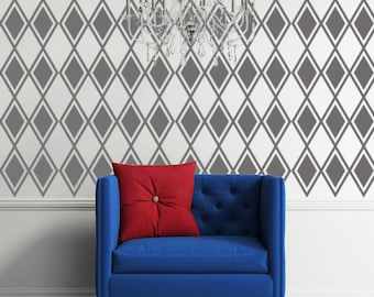Diamond Decal, Argyle Wall Pattern, Harlequin Decor, Retro Wall Art, Modern Nursery Decor, Apartment Wall Decor, Nursery Wall Decal