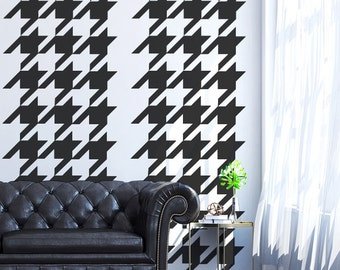 Houndstooth Vinyl, Retro Wall Decal, Modern Wall Decor, Modern Nursery Decor, Chic Wall Decor, Fashion Wall Art, Apartment Wall Decor