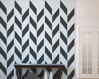 Herringbone Wall Decal, As Seen In Gray Magazine, Apartment Therapy, Geometric Decal, Chevron Decal, Modern Nursery Decor, Apartment Decor